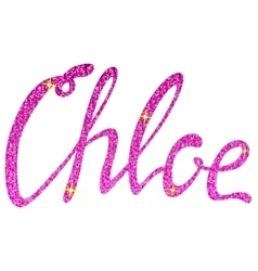 Chloe name lettering pink tinsels vector