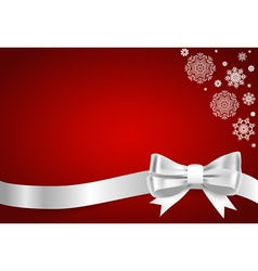 Christmas background Shiny ribbon on red vector image