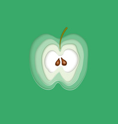 conceptual green apple layered cut out colored vector image vector image