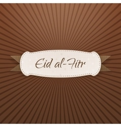 Eid al-fitr realistic textile tag with text vector