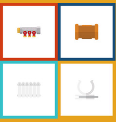 flat icon pipeline set of conduit pipe radiator vector image