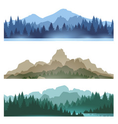 Foggy mountains landscape set vector
