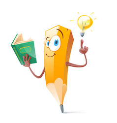 Funny pensil with book and idea lamp vector