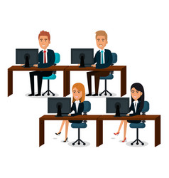 Group of businespeople teamwork in workplace vector