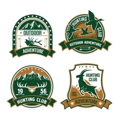 Hunting club shields icons set vector