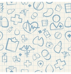 Medical Seamless Pattern on White Squared Paper vector image vector image