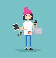 Multitasking millennial concept young girl using vector