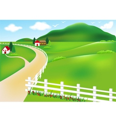 Rural and house white fence vector image
