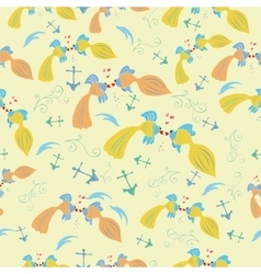 Seamless pattern with cartoon fishes vector image