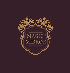Set creative emblem of the magic mirror with flora vector