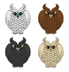 Set of color images with owls vector