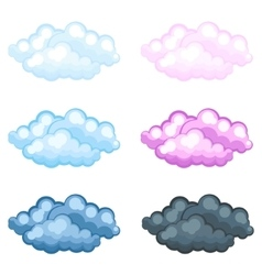 Set of different funny cartoon fluffy clouds vector