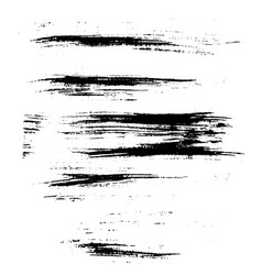 Set of ink brush strokes vector