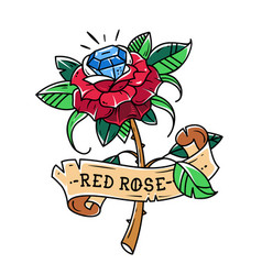 Tattoo red rose with blue gem inside passion love vector