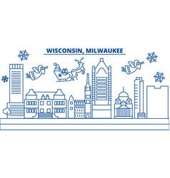 Usa wisconsin milwaukee city winter city vector