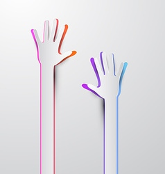 Voting hand - paper cut palm hands vector