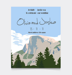 wedding invitation with mountains invitation card vector image vector image