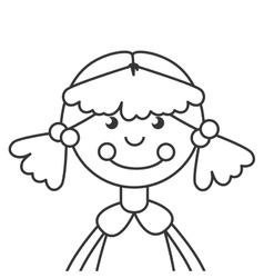 wooden doll toy icon vector image vector image