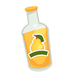 Yellow drink in glass bottle with pear symbol on vector