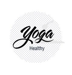 Yoga healthy dot circle white background im vector
