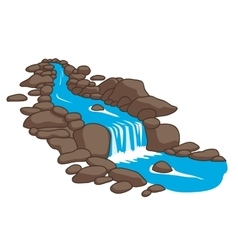 River flowing down stream across a stones vector image