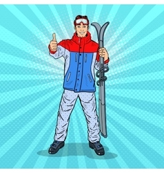Pop art man on ski holidays gesturing thumb up vector