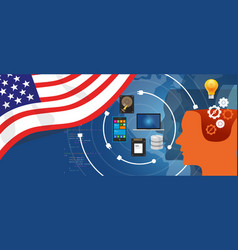 Usa america it information technology digital vector