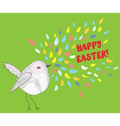 Happy easter card with bird vector