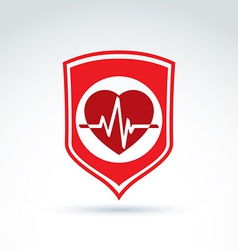 Cardiology protection heart cardiogram icon cardio vector