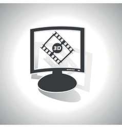Curved 3d movie monitor icon vector