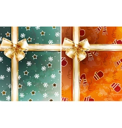 Wrapped christmas present background vector