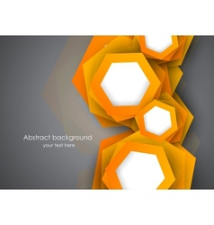 Background with orange hexagons vector image