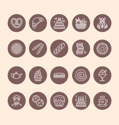 bakery confectionery line icons sweet shop vector image vector image