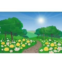 Beautiful landscape with flowers vector