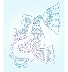 Blue line drawing of sea monster underwater vector