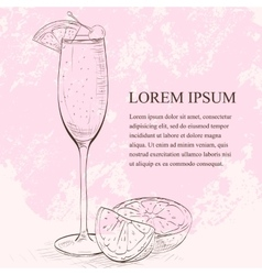 Champagne cocktail scetch vector