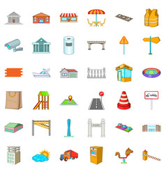 City landscape icons set cartoon style vector