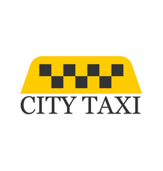 city taxi logotype with checker in yellow and vector image vector image