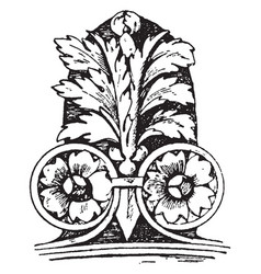 Corner akroter ornamental vintage engraving vector