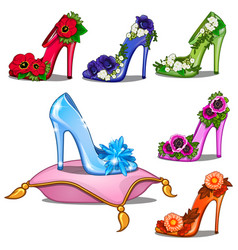 Crystal shoes in different colors with flowers vector