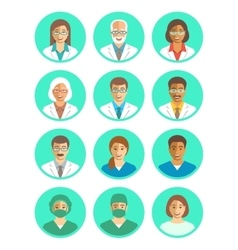Doctors and medical workers flat simple avatars vector image