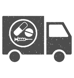 Drugstore truck icon rubber stamp vector