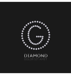 G letter with diamonds vector