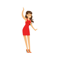 Girl in red dress dancing pretty on dancefloor vector