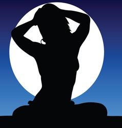 Girl pretty on a moonlight color vector
