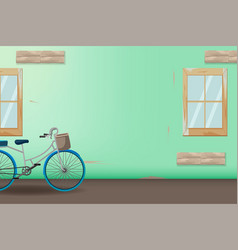 green vintage bicycle style background vector image vector image