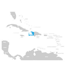 Haiti blue marked in the map of caribbean vector