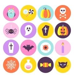 Halloween Trendy Circle Icons Set vector image vector image