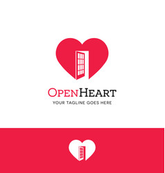 Heart logo with an open door vector