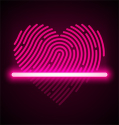 Heart shaped fingerprint scanner vector image vector image